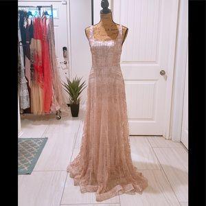Women's Sparkle A-line Rose Gold Maxi Dress Size M